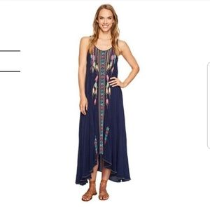 Johnny Was Mimosa High-Low Maxi Dress in Deep Blue
